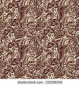 Vector Seamless abstract hand-drawn ornament pattern, wavy beige and brown background. Pattern can be used for wallpaper, pattern fills, web page background, surface textures. Gorgeous seamless floral background,