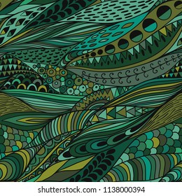 Vector seamless abstract hand-drawn pattern, simple lines background in green colors. Handdrawn organic ornament, natural lace backdrop.