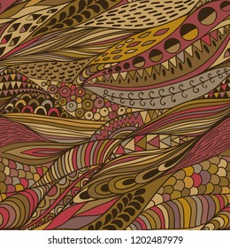 Vector seamless abstract hand-drawn pattern, waves background. Handdrawn ornament lace backdrop