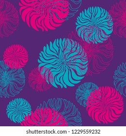 A vector seamless abstract pattern of three different colors (coral red, light green, violet) with often repeating blooms for a background, wrapping paper, greeting card, invitation card or wallpaper