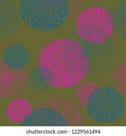 A vector seamless abstract pattern of three different colors (mustard-yellow, pink, green) with often repeating blooms for a background, wrapping paper, greeting card, invitation card or wallpaper