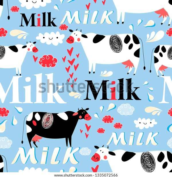 Vector seamless advertising pattern with cows and milk on blue background
