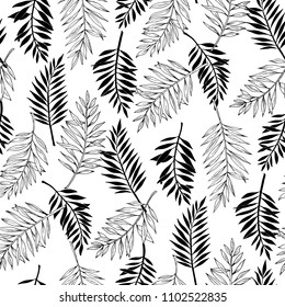 Vector seamless areca palm leaves pattern. Exotic foliage. Line drawings and silhouettes. Black and white