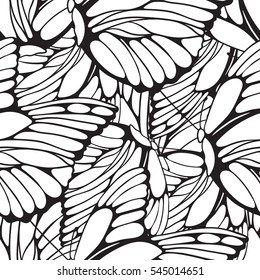 vector seamless artistic hand drawn graphical butterfly wings pattern, spring summer mood, stylish bright background print, playful butterflies texture