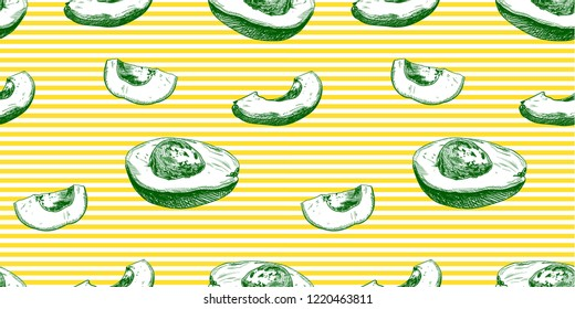 Vector Seamless Avocado Pattern, Coloful Background, Exotic Fruits.