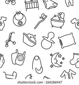 Vector seamless baby goods pattern contains thin line icons