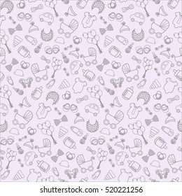 Vector seamless baby and pregnancy pattern. Toys, children's clothes, stroller, retro style.