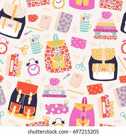 Vector seamless back to school pattern with books, backpacks, pens, pencils