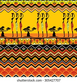 vector seamless background with African design