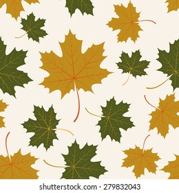 Vector seamless background with autumn maple leaves