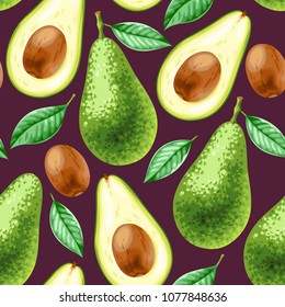 Vector seamless background with avocado