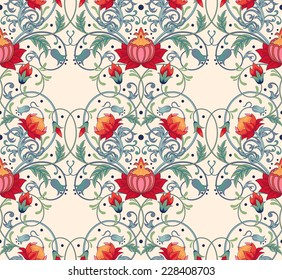 Vector seamless background. Beautiful fantastic floral pattern.