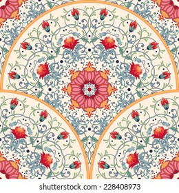 Vector seamless background. Beautiful floral round pattern with fantasy flowers.