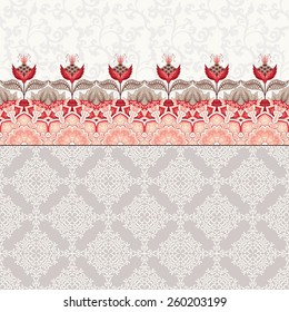 Vector seamless background. Beautiful oriental floral border. Fantastic flowers and leaves. Simple delicate ornament. Tree of Life collection.