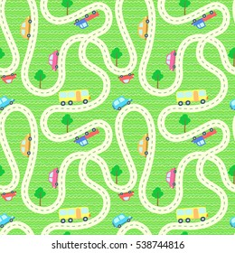 Vector seamless background with cartoon roads and cars. It can be used as a pattern for textile, wrapping paper, children's play mat,  board games and etc.