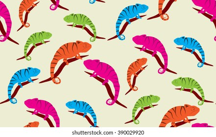Vector seamless background of chameleons. Chaotic chameleons on the branches