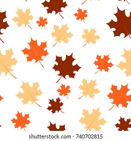 Vector seamless background with chaotic maple leaves. EPS10. Can be used as print on clothes, wrapping paper, web, design banners. Creative autumn backdrop.
