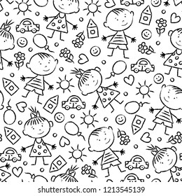 Vector seamless background with children's pencil drawing. Cartoon repeating sketch pattern with graphic contour little boys and girls for textiles, wallpapers, web. Endless kids backdrop.