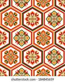 vector seamless background with classic japanese floral ornament
