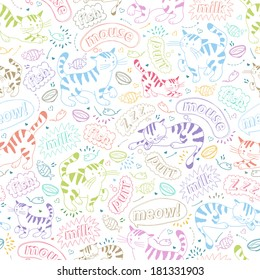 Vector seamless background with coloful cats. Cartoon repeating pattern with kittens, their attributes and clouds of words.