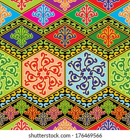 vector seamless background with color buddhist ornament