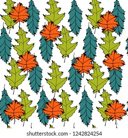 Vector seamless background with colored leaves