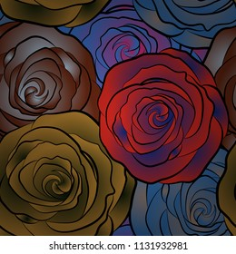 Vector seamless background with colored spots. Seamless background in blue, brown and red roses.