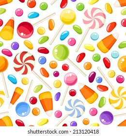 Vector seamless background with colorful Halloween candies on a white background.
