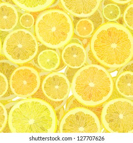 Vector seamless background of cut across a lot of citrus fruits.