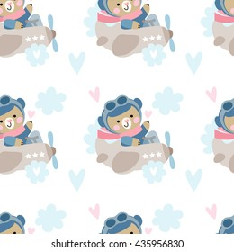 Vector seamless background with cute bears pilot on the plane. Cute teddy bear  on the plane.