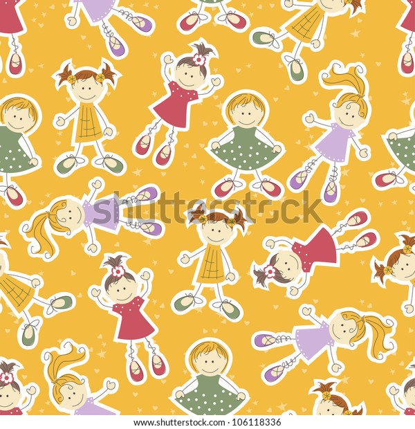 Vector seamless background with cute girls