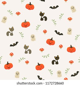 Vector seamless background of cute pumkin. A cheerful pattern for the holiday of Halloween