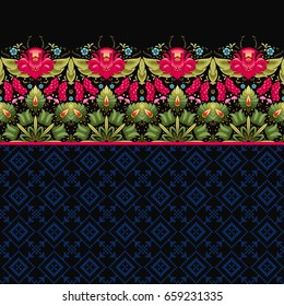 Vector seamless background with dark backdrop. Floral border and cross stitch ornament on backdrop. Style of Petrykivka painting. Ukrainian pattern.