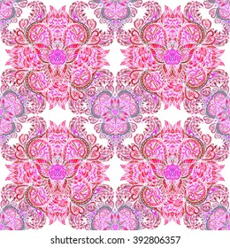 Vector seamless background delicate oriental watercolor. Exquisite pattern  of the flower.  Trendy print.
