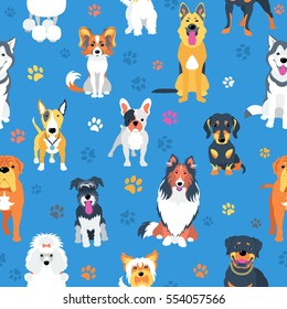 Vector seamless background with dogs flat design.
