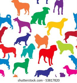 vector seamless background with dogs silhouettes.