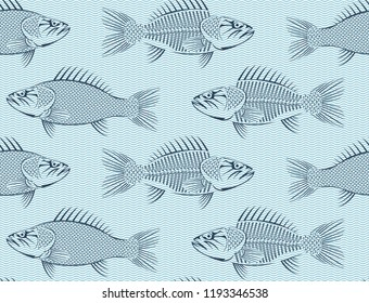 Vector seamless background with drawn sketches of fish on blue background with waves. Hand-drawn illustration in retro style. Can be used for seafood menu or fish market