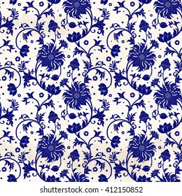 Vector seamless background with floral pattern on watercolor backdrop. Imitation of chinese porcelain painting.
