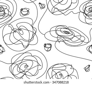 Vector seamless background . Floral repeating background. . Randomly to dispose of the branches. Contemporary graphic design. Thin black lines. Isolated background