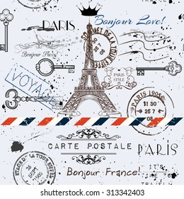 Vector seamless background with flower Eiffel tower and post stamps imitation of vintage postcard in grunge style