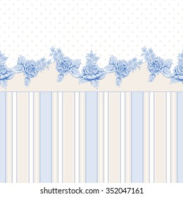 Vector seamless background. French roses pattern and stripes. Polka dot backdrop. Vintage style.