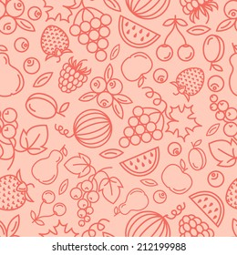 Vector seamless background with  fruits