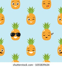 Vector seamless background with funny pineapples