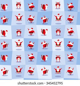 Vector seamless background  funny Santa Claus different character dancing does morning exercises for design wallpaper or wrapping paper