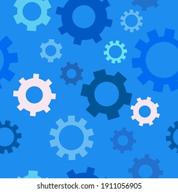 vector seamless background with gears on blue background