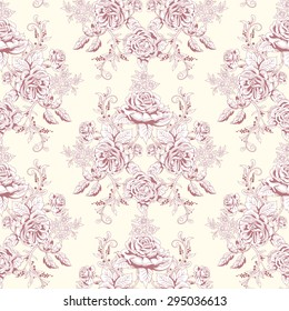 Vector seamless background. Hand drawing of a bouquet victorian garden roses. Vintage style