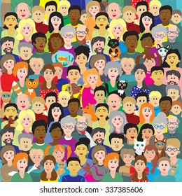 Vector seamless background or illustration depicting colorful fun crowd of people of all ages with pets.