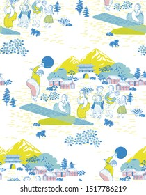 Vector seamless background illustration of girls playing Korean traditional games and the town people. The modern design of Korea. Design for fabric, web design, print project, and rapping