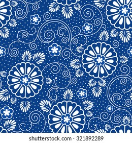 vector seamless background with japanese blue floral pattern