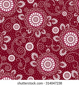 vector seamless background with japanese floral pattern